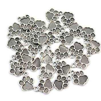 30pcs/Lot Antique Silver Metal Dog Paw Print Footprint Charms Pendant for Necklace Bracelet Jewelry Making Findings DIY Craft