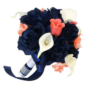"8"" Bouquet - Navy Blue and Coral Roses with White Calla Lilies - Artificial Bouquet"