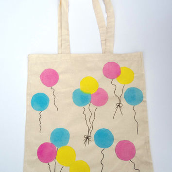Hand painted Tote Bag Colorful Coloured Ballon Hand drawn Cotton Canvas Shopping Bag -Large Size
