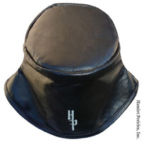 Black Leather Bucket Hat | Genuine Leather Unisex Hat by Hamlet Pericles | HP3218