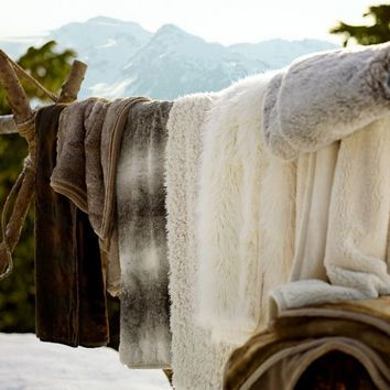 Faux Fur Throw - Caramel Ombre | Pottery Barn