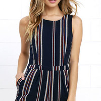 Olive & Oak Driftwood Dreamer Navy Blue Striped Romper