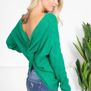 Green Knit Twist Sweater