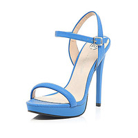 River Island Womens Blue snake print barely there sandals