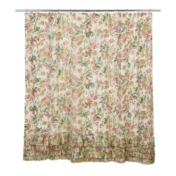 Madeline - Layered Ruffles - Spring Foilage on Creme Ground - Shower Curtain