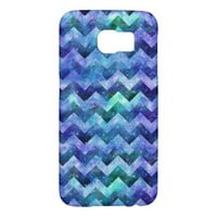 Blue Starry Galaxy Watercolor Chevron Samsung Galaxy S6 Cases