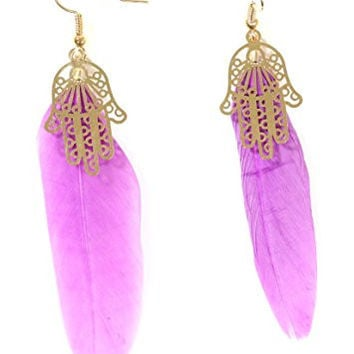 Hamsa Feather Earrings Purple Plume Gold Tone Hand EG52 Fashion Jewelry