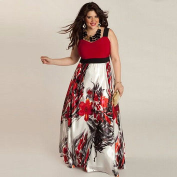 Fashion woman printing dress maxi long dresses O- neck Three quarter  Sleeve  Plus size women clothing with Sashes L-6XL