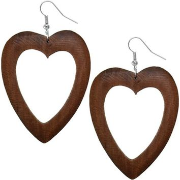 Dark Brown Wooden Heart Earrings