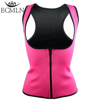 DropShipping ECMLN Thermo Sweat Hot Neoprene Body Shaper Slimming Waist Trainer Cincher Vest Women Shapers