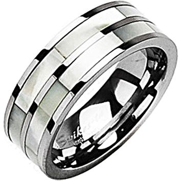 SPIKES Tungsten Carbide Dual Mother of Pearl MEN'S Ring