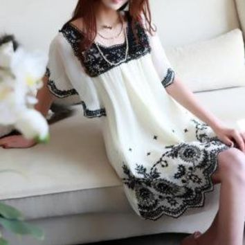 Temperament Bat Sleeve Square Neck Chiffon Dress by emma668