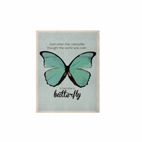 "NL Designs ""Blue Butterfly"" Blue Quote KESS Naturals Canvas (Frame not Included)"