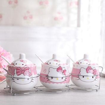 DCCKL72 Kawaii Cartoon Ceramic Hello kitty Doraemon Sugar Bowl Home Kitchen 3 In 1 Set Salt Condiment Pot Jars With Small Spoon