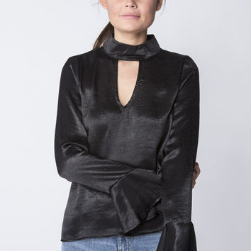 Satin Bell Sleeve Top