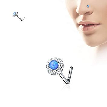 WildKlass Dome Opal Center CZ Paved Circle 316L Surgical Steel L Bend Nose Stud Rings