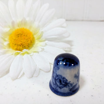 Flow Blue China Thimble Staffordshire England Pottery Sewing Thimble - Flow Blue Cottage Shabby Chic Collector Sewing Crafter Seamstress