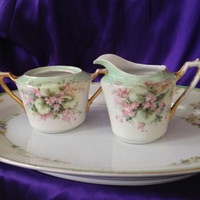 Antique KPM Sugar Bowl & Creamer, Hand Painted Bone China, Artist Signed, Mint Green Band, Pink Floral, 1904 thru 1927, Ultra Cottage Chic