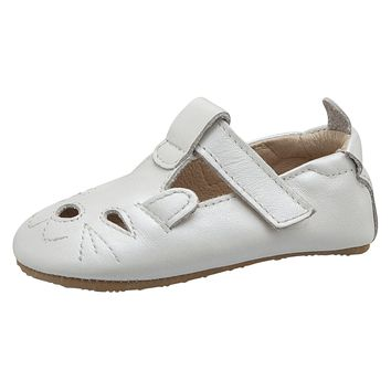 Old Soles Girl's 006 Cutesy Shoe Kitty Detail Nacardo Blanco Leather Mary Jane Flats