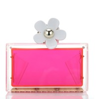 Milanblocks Neon Pink Hawaii Daisy Custom Personalized Acrylic Clutch
