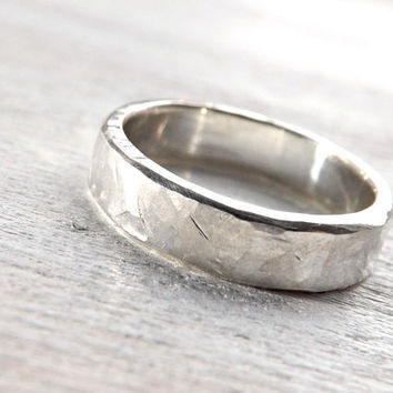 silver wedding band, mens engagement ring, mens proposal ring, architectural ring, rough silver ring, bold mens ring, rustic wedding ring