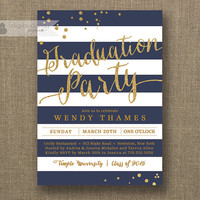 Navy & Gold Graduation Party Invitation Gold Glitter Navy Blue Horizontal Stripes Modern Bachelorette DIY Digital or Printed- Wendy