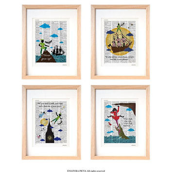 Peter Pan set of 4 art prints-Peter Pan print-Peter Pan dictionary print-nursery print-children wall art-peter pan wall art-gift idea-DP239