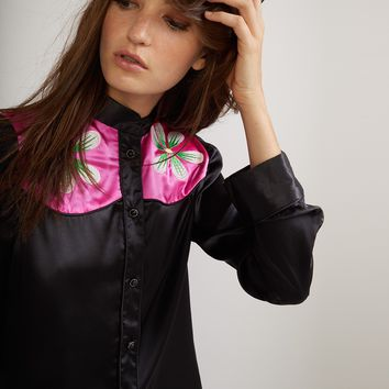 Embroidered Flower Button Down Shirt