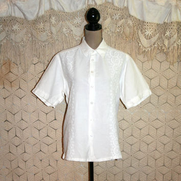 White Blouse White Linen Blouse Short Sleeve Blouse Button Up Blouse Embroidered Womens Shirt Size 2X 3X Plus Size Blouse Womens Clothing