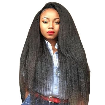 Kink Straight Lace Front Wigs With Baby Hair Around 250% Density Pre Plucked Brazilian Remy Wigs For Black Women