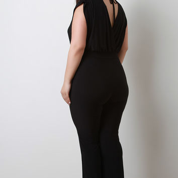 Stretchy Surplice Back Tie Jumpsuit | UrbanOG