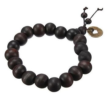 Vintage Natural Wood Beads Men Bracelet