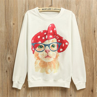 Women Thin White Sweatshirt Retro Pin Up Cat Printed Pullover Longsleeve Pullovers