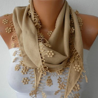 Tan Scarf    Pashmina Scarf   Headband Necklace Cowl by fatwoman-341