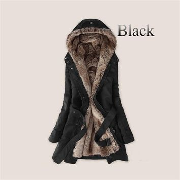 Thick Faux fur lining women's fur Hoodies winter warm long fur inside coat jacket cotton clothes thermal parkas
