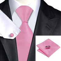 Men's Necktie Jacquard Woven Silk Solids Pink Tie Hanky Cufflinks for Formal