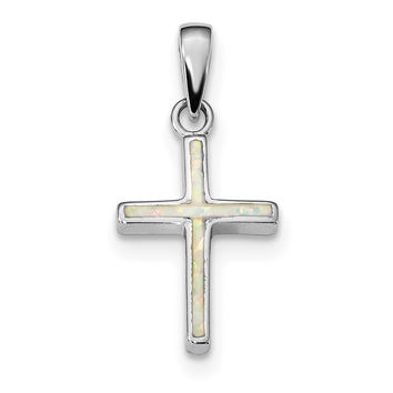 Sterling Silver Rhodium-plated White Created Opal Cross Pendant QC9035