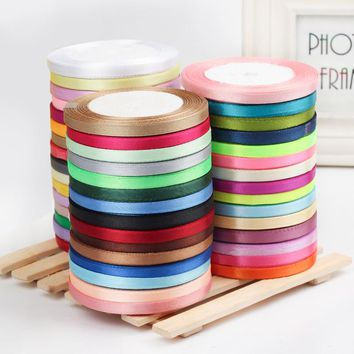 2roll/lot  25yards/roll 6mm Satin Ribbon Party Wedding Decoration Invitation Card Gift Wrapping Christmas DIY Material Supplies