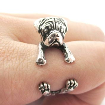 3D Pug Puppy Dog Shaped Animal Wrap Around Ring in Shiny Silver | Sizes 4 to 8.5