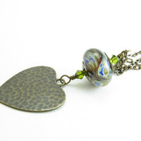 Long Heart Pendant Necklace Artisan Glass and Heart Pendant Hammered Brass Heart Long Brass Chain and Heart Necklace