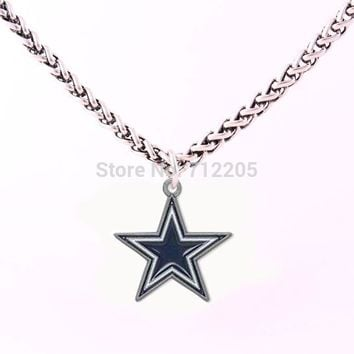 Dallas Cowboys Enamel chain necklace 10pcs a lot Wheat Link Bracelet Chain with Large Clasp football necklace