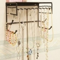 "Black 10"" Wall Mount Jewelry & Accessory Storage Rack Organizer Shelf for Earrings, Bracelets, Necklaces, & Hair Accessories:Amazon:Home & Kitchen"