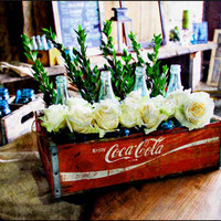 Coca-Cola Crate & Bottle Decorative Centerpiece