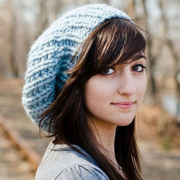 Hand Knit Hat Womens Hat - The Soho Beret in Glacier Blue - Fall Fashion Autumn Fashion Autumn Accessories Knit Beanie