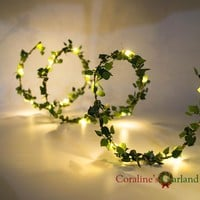 Handmade 2M 20 LEDs leaf garland battery operate Copper LED fairy string lights for rustic wedding decoration summer party event