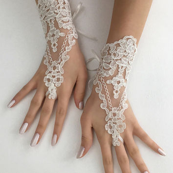 ivory lace gloves wedding bridal gloves french lace  wedding gloves, lace glove, Bridal gift, Bridal accessories