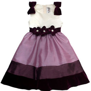 Rare Editions Girls 2-6x Tri Color Colorblocked Dress