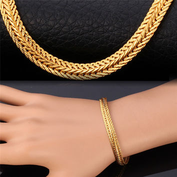 Gold Bracelet For Men / Women Fashion Jewelry Platinum / Rose Gold / 18K Real Gold Plated Foxtail Bracelets Bangles H435