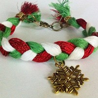 Red green white braided bracelet with snowflake charm, braided bracelet, snowflake bracelet, bell bracelet,Christmas jewelry,holiday jewelry