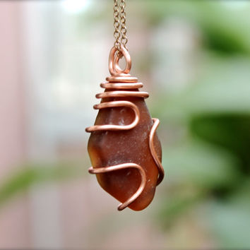 Copper Seaglass Jewelry from Hawaii - Hawaiian Jewelry - Sea Glass Wire Wrap Pendant - Mermaid Tear - Bohemian Jewelry - Gypsy Boho Necklace